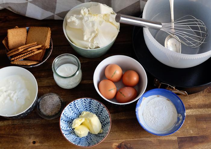 Die Zutaten für den New York Cheesecake