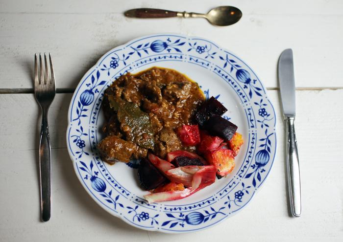Lammcurry mit Ofengemüse
