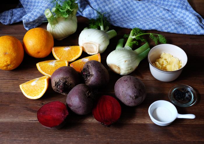 Die Zutaten für das Ofengemüse