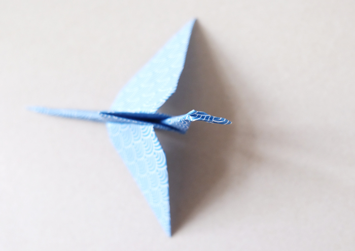 16. Fold head with a reverse fold.