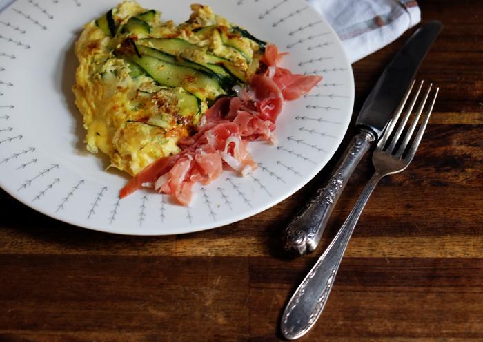 mittagspause zucchini omelette mit schinken. Black Bedroom Furniture Sets. Home Design Ideas