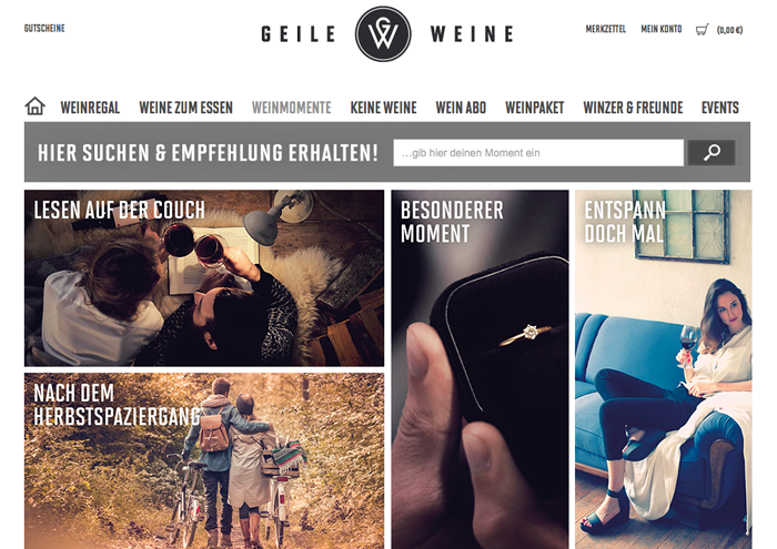 Homepage Geile Weine