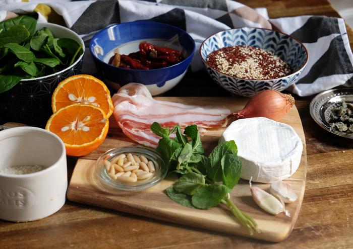 Die Zutaten für den Quinoa-Salat mit Ziegenkäse
