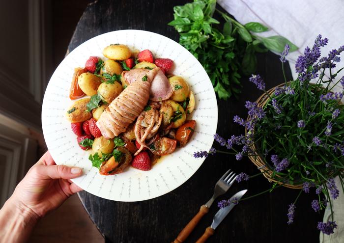 Gegrillter Kalmar mit Kartoffeln