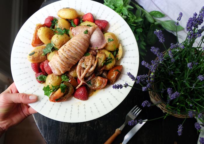 Sonntagsgericht: Kartoffelpfanne mit gegrilltem Kalmar