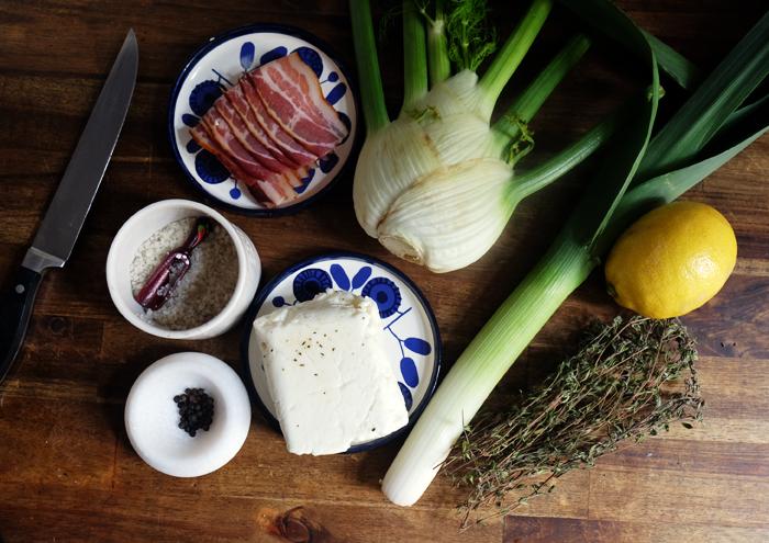 Die Zutaten für den Fenchelsalat