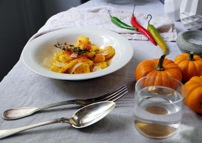Gnocchi mit Kürbis, Orangen und Tomatenmarmelade