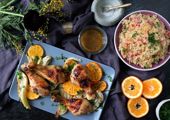 Sonntagsgericht: Grand Marnier-Brathähnchen mit Safran-Reis