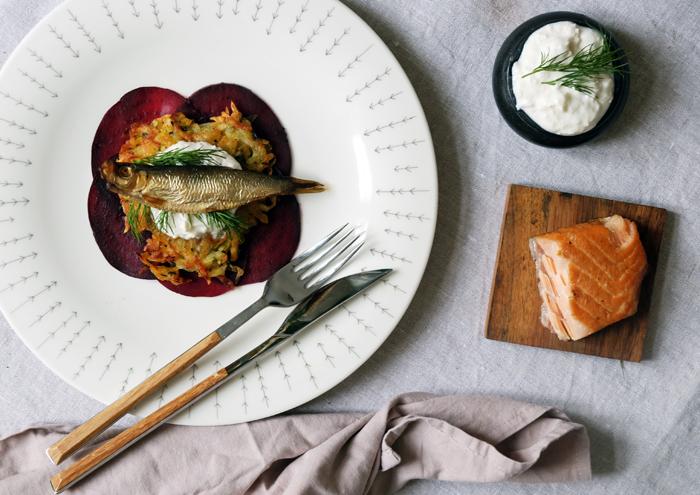 Fisch, Rote Bete und Latkes