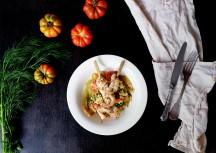 Sonntagsgericht: Hühnchenspieße mit Hirse und Fenchel