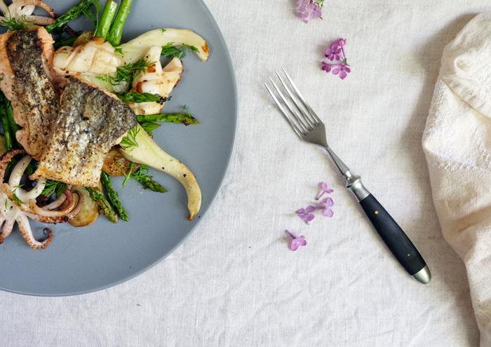 Kalmare mit Gemüse