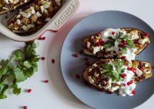 Sonntagsgericht – gefüllte Aubergine mit Quinoa und Blumenkohl