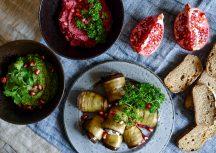 Georgische Küche: Pkhali und gefüllte Auberginen-Röllchen